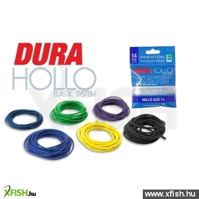 Preston Dura Hollo Elastic - Size 18 - Black Fekete Rakós Botos Gumi