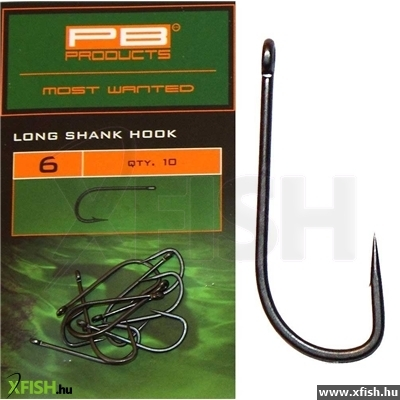 Pb Products New Long Shank Hook Size 4, Dull Finish Brown Color, 10 Darab Bojlis Horog