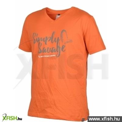 Savage Gear Simply Savage V-Neck Tee Orange S Póló db0b073e1c