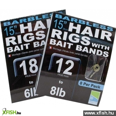 Preston Barbless 15 Hair Rigs With Bait Bands Előkötött Horog Szilikon Karikával - Size 18
