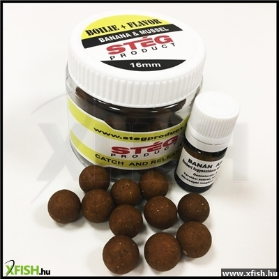 STÉG PRODUCT csalizó bojli + aroma 16 MM BANANA & MUSSEL 90 G + 5 ML